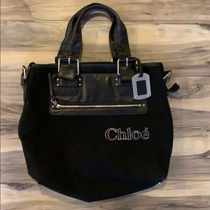 Chloé Canvas/Leather Tote Bag